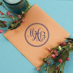 How pretty is this monogram on our peach linen like napkin? Great color combo for any summer occasion! Design your own custom linen like cocktail napkins at http://www.foryourparty.com/products/editor/8978
