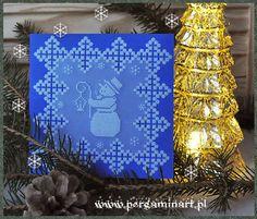 "kartka pergaminowa ""Bałwanek"" www.pergaminart.pl '2014 technika pergaminowa / parchment craft"