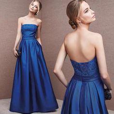 Blue party dress strapless evening dress satin applique prom dress backless long formal dress