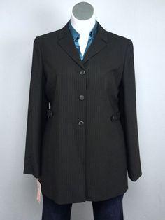 NWT $450 Greta Garbo Collection 16 Gray Pinstripe Long Blazer Jacket VTG Italy #GretaGarboCollection #LongBlazerJacket