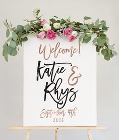Our wedding welcome sign is the perfect way to welcome guests to your wedding reception.