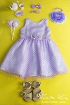 Adorable! Lilac Polkadot Girls Easter Dress, Size 4Y-7Y, Junior Bridesmaid Dress, Flower Girls Dress, Girls Party Dress, Confirmation Dress by KanitaKids on Etsy