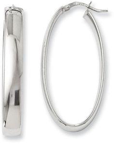 Zales 6.0 x 20mm Solid Oval Hoop Earrings in Sterling Silver