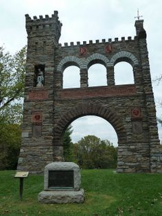 """The National War Correspondents Memorial Arch, part of Gathland State Park, is a memorial dedicated to journalists who died in war. It is located in Maryland, at Crampton's Gap at South Mountain. Civil War correspondent George Alfred Townsend, or """"Gath"""", built the arch in 1896, and it was dedicated October 16, 1896."""