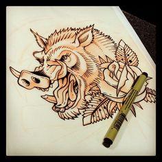 Rose And Wild Boar Tattoo Design