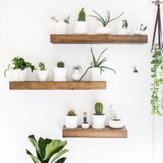 Stunning 36 Stunning Diy Floating Shelves Design Ideas For Living Room Interior. Reclaimed Wood Floating Shelves, Floating Shelves Diy, Diy Wood Shelves, Shelf Inspiration, Floating Plants, Regal Design, Bedroom Decor, Wall Decor, Plant Shelves