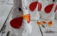 Kippen van een eierdoos maken - Homemade by Joke Diy Home Crafts, Crafts For Kids, Easter Crafts, Easter Decor, Creative Kids, Barn, Christmas Ornaments, Holiday Decor, Design