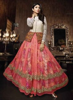 Shilpa White And Red Net Row Silk Printed Work Anarkali Suit http://www.angelnx.com/Salwar-Kameez/Bollywood-Salwar