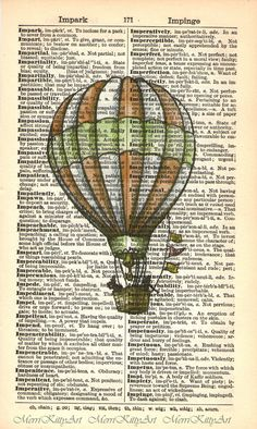 Hot Air Balloon Printed on Vintage Dictionary Page. £3.25, via Etsy.