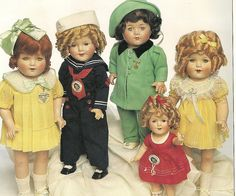 Five of the thousands of Shirley Temple doll varieties. Very sweet...