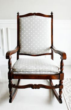 Rocking Chair Makeover, Nursery Rocker, Nursery Rocking Chair in Ikat Polka Dot fabric, Vintage Rocker
