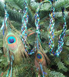 Wedding Handfasting Cord - Eye of Peacock real feathers green blue copper. $50.00, via Etsy.