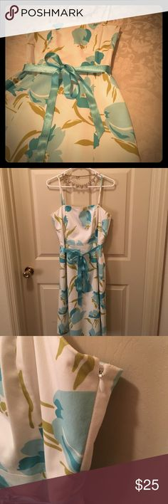 Banana Republic White Dress w Blue Flowers Size 8 Banana Republic White Dress with Blue and Green Flowers; Spaghetti Straps; Lined; Side Zipper Closure; Internal Piping in Bust; Gently Used; Small Tear in Back of Dress Near Waist; Sky Blue Ribbon Belt on Waist Ties a Bow in Front; Size 8 Banana Republic Dresses