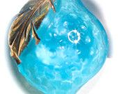 Scarce Realistic Vintage Turquoise Moonglow Button - Small
