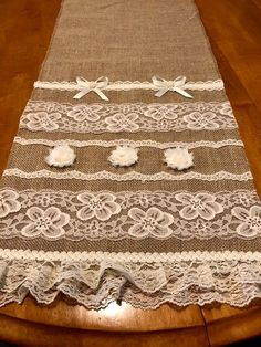 Items similar to Ribbon and Lace One of a Kind Wedding Table Runner on Etsy Band und Spitze Einzigartige Hochzeit Tischläufer Burlap Table Runners, Fabric Roses, Patio Chairs, Diy Table, Dining Room Table, Home Furnishings, Home Furniture, Shabby, Crafts