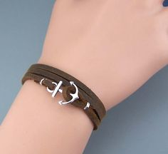 Anchor Bracelet,Real Cow Leather Bracelet,Brown,Fashion Jewelry,Men Bracelet Women Jewelry,Christmas Gift For He/Her,Size Is Adjustable.Wholesale. from HolliDayGift on Storenvy
