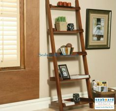 This lovely bookcase will add a casual look to your home, offering convenient storage and display space for your living room, hallway, or home office. Available in a weathered Black or warm Mahogany finish, this piece is sure to complement your decor. The simple shelf design leans against the wall, with five spacious shelves that are ideal for books, framed photos, and your favorite decorative accent items.