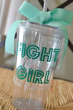 PCOS Awareness, Tumbler Fight Like a Girl by AnchorAvenueDesigns, $12.00