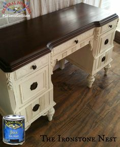 The Ironstone Nest, http://www.theironstonenest.com/, refinished this desk with a classic look.  The top was stained with GF Java Gel Stain and sealed with our water based High Performance Top Coat.  For a similar paint color we recommend GF Antique White Milk Paint. We'd love to see your projects made with General Finishes products! Tag us with @GeneralFinishes and make sure to let us know which products you used! #generalfinishes #gfhptc #javagel