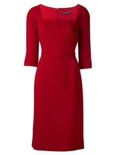 Dolce & Gabbana Women's Red Crepe Square Neck Dress
