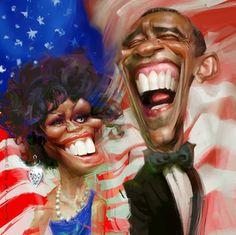 """CARICATURAS DE FAMOSOS: """"Barack y Michelle Obama"""" por Xi Ding"""