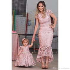 Chic V neck Mermaid Long Prom Dress Pink Beaded Party Dress Prom Dresses Prom Dresses, Little Girl Pageant Dresses, Dresses Kids Girl, Flower Girl Dresses, Mother Daughter Matching Outfits, Mother Daughter Fashion, Mom Daughter, The Dress, Baby Dress, Evening Dresses Online Shopping