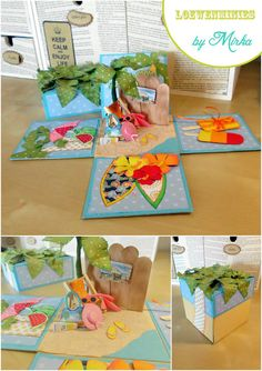 Beach explosion box money gift... Card In A Box, Pop Up Box Cards, Scrapbook Paper Crafts, Scrapbooking, Diy Exploding Box, Box Cards Tutorial, Side Step Card, Step Cards, Diy Box