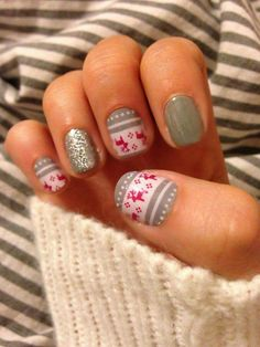 "Christmas Nail Ideas to Try Jamberry ""feeling festive"" nail wraps. This design will be gone after…Jamberry ""feeling festive"" nail wraps. Xmas Nails, Holiday Nails, Christmas Nails, Christmas Makeup, Christmas Ideas, Valentine Nails, Halloween Nails, Winter Christmas, Cute Nails"
