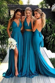 Teal V Neck Side-Slit Cheap Long Bridesmaid Dresses Online, Teal V Neck Side-Slit Cheap Long Bridesmaid Dresses Online, - Brautjungfern Mode - Wedding Dresses Backless Bridesmaid Dress, Turquoise Bridesmaid Dresses, Bridesmaid Dresses Under 100, Mismatched Bridesmaid Dresses, Wedding Dresses 2018, Wedding Bridesmaids, Blue Bridesmaids, Prom Dresses, Bridesmaid Gowns