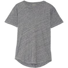 Madewell Whisper cotton-jersey T-shirt (120 BRL) ❤ liked on Polyvore featuring tops, t-shirts, shirts, tees, madewell t shirts, cotton jersey t shirt, curved hem t shirt, curved hem tee and gray t shirt