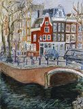 Red House at Amsterdam Canal - Joan de-Bot