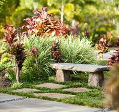 Attempt these easy ideas for diy external garden benches to create the absolute spot to sit in your backyard smallbenchgarden august grove anaya stone garden bench color alpine stone Stone Garden Bench, Stone Bench, Garden Stones, Garden Benches, Wood Stone, Tropical Landscaping, Landscaping With Rocks, Tropical Decor, Tropical Backyard