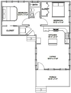 16 X 32 House Plans Luxury Tiny House 767 Sq Ft Excellent Floor L Shaped House Plans, Tiny House Plans, House Floor Plans, L Shaped Tiny House, Small House Plans Under 1000 Sq Ft, Small Tiny House, Tiny House Living, Small Homes, Living Room