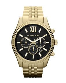 Michael Kors Oversized Golden Stainless Steel Lexigton Three-Hand Watch
