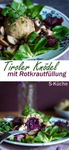 Rezept für gefüllte Tiroler Knödel - Die beliebten Tiroler Speckknödel habe ich heute mit Rotkraut gefüllt.