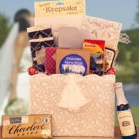 Sweet Wedding Moments  Gift those sweet wedding moments with this thoughtful and tasty delivery that includes a shower registry, wedding shower games, a disposable camera, wedding bells, candle and a champagne bottle candle. Wedding shower treats include Palace Gourmet fruits of the earth, butter toffee pretzels, two Bellagio coffees, a box of caramel hearts, Palace Gourmet Alpine mints, 4 Lindt truffles, and a Chocolove bar.