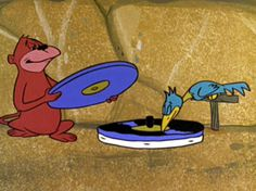 Flintstones' record player -- with monkey record changer