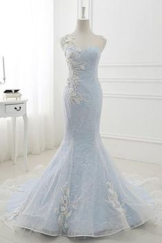 Baby Blue Sweep Train Lace Mermaid Evening Dresses, Formal Dress With Applique N1473