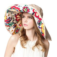 KUYIN Large Women Beach Hat Sun Hat Double Deck Anti UV Can Be folded Outdoor  Cap 3143b32350de
