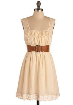 cream lace tank top strapped dress with brown belt. Want!