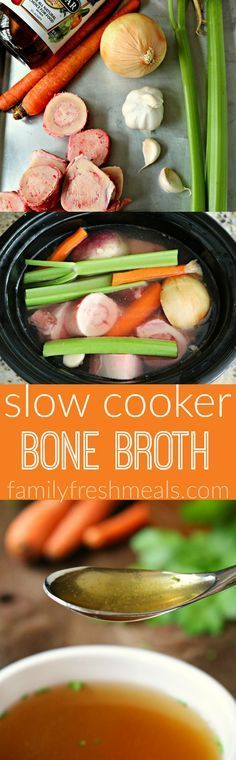 Slow Cooker Bone Broth Recipe -- So easy to make in the crockpot! -- http://FamilyFreshMeals.com -