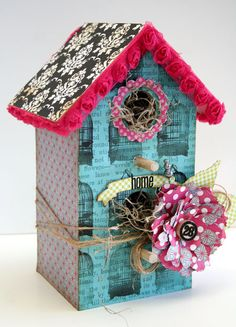"""Julie Stainton's little birdhouse! made with some of the """"Victoria Park"""" line of paper."""