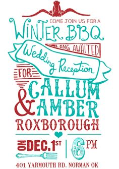 Wedding Reception Invitation by Lacey Leach, via Behance