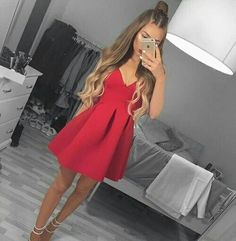 Short Prom Dresses cute homecoming dresses 2017 – Page 10 – trendty Red Hoco Dress, Hoco Dresses, Dance Dresses, Cheap Dresses, The Dress, Cute Dresses, Evening Dresses, Red V Neck Dress, Homecoming Dresses 2017