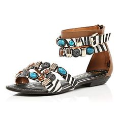 d486b7853bca40 white print embellished sandals - River Island Roman Sandals