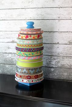 The Cottage Home: DIY Ribbon Holder Tutorial cool idea to keep rolls of ribbons & trims