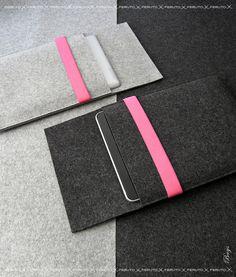 iPad 4 3 2 1 case iPad sleeve PINK WOLF german wool felt and leather. $59.00, via Etsy.