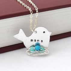 mother necklace Hand Stamped necklace mama bird by myjewelrystory.