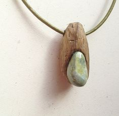 Necklace, Beach Driftwood, Leather, Green Jasper ,Ocean, Nature, Eco Friendly, Earthy