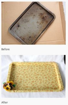 Cute makeover - old cookie sheet into fabric-covered vanity tray (or desk tray, eating tray, corral for small parts while crafting, etc.)